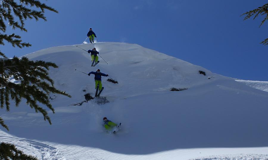 skier jumping at kirkwood